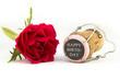 rote Rose mit Champagnerkorken - Happy Birthday