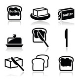 Fototapety Butter or margarine vector icons set