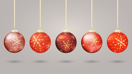 Set of  red christmas balls, vector illustration.