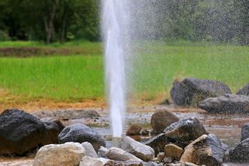 Water burst out at San Kamphaeng Hot Springs in Chiangmai