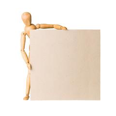 Wooden model dummy holding blank carton board