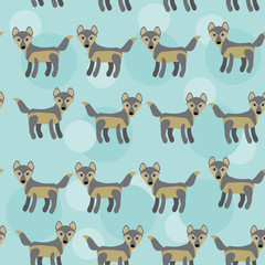 gray wolf Seamless pattern with funny cute animal on a blue back