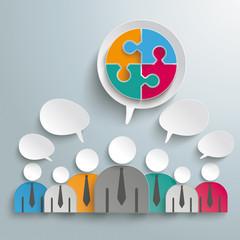 7 Businessmen Speech Bubbles Circle Puzzle PiAd