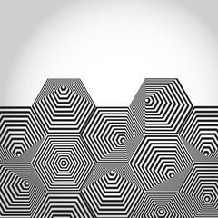 Volumetric 3D pyramid. hexagon. Optical illusion background.