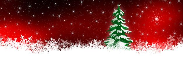 Weihnachskarte, Panorama, Schnee, Nachthimmel, Stern, Tannenbaum