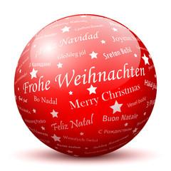 Rote Kugel, Frohe Weihnachten, Grüße, Weihnachtsgrüße, Gruß, 3D