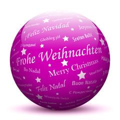 Lila Kugel, Frohe Weihnachten, Grüße, Weihnachtsgrüße, Gruß, 3D