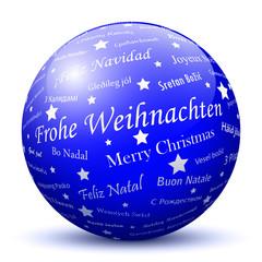 Blaue Kugel, Frohe Weihnachten, Grüße, Weihnachtsgrüße, Gruß, 3D