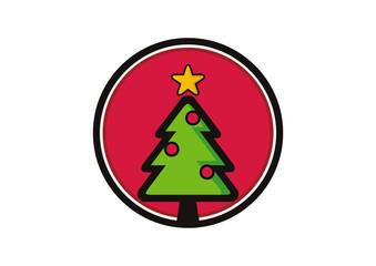 Christmas tree icon logo vector
