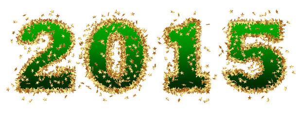 Jahreszahl, 2015, Neujahr, Grün, Goldsterne, golden, Stern, Gold