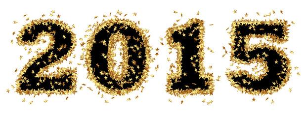 Jahreszahl, 2015, Neujahr, Schwarz, New Year, goldene, Sterne