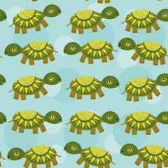 turtle Seamless pattern with funny cute animal on a blue