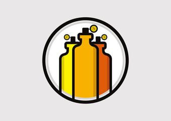 Oxygen Tank Illustration icon logo vector