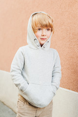 Fashion portrait of adorable toddler boy