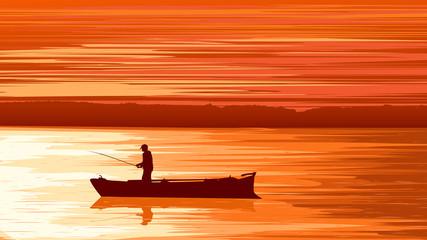 Vector fisherman against orange sunset.