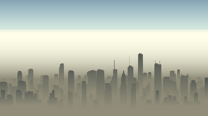 Illustration of big city in haze.