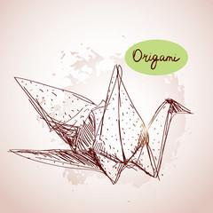Origami paper cranes sketch beige background.Grunge