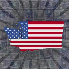 Washington map flag on dollars sunburst illustration