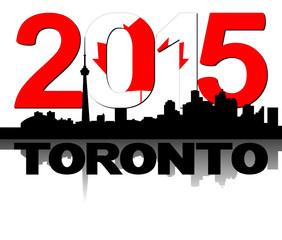 Toronto skyline 2015 flag text illustration