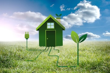 Composite image of clean energy house