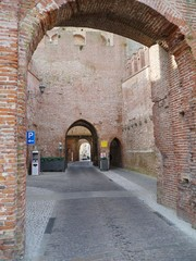 One of the gates with a tower in the city wall of Cittadella