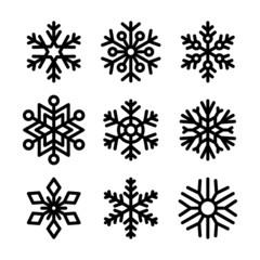 Snowflake Icons Set on White Background. Vector