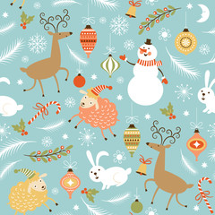 seamless Christmas and New Year's background