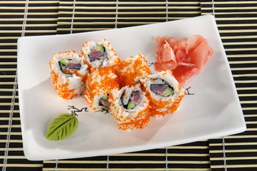 Sushi menu rolls of scallops and fish caviar letucher