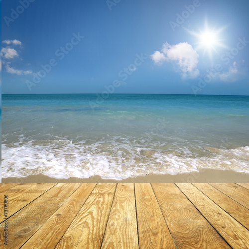 canvas print picture Am Strand / Mit Holz