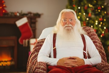 Happy santa without his jacket