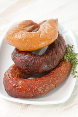 portuguese smoked sausages on plate