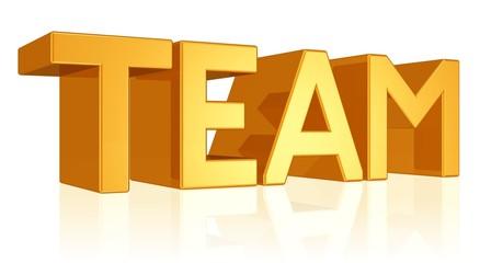 Team - Text in großen Buchstaben