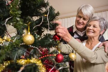 Senior couple decorating their christmas tree
