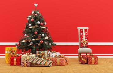 Árbol de Navidad decorado con regalos en habitación roja y silla