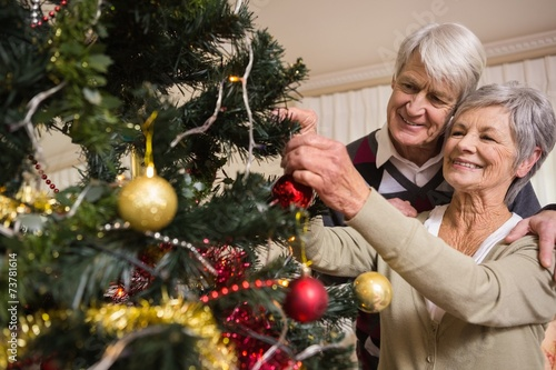 Senior couple decorating their christmas tree - 73781614