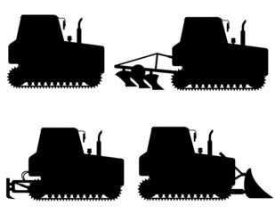 set icons caterpillar tractors black silhouette vector illustrat