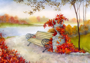 Decorative bench in autumn park