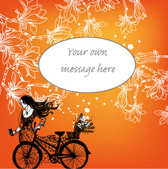 girl and bicycle background