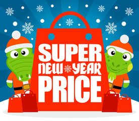 Super New Year  Price card with  alligator and iguana,vector