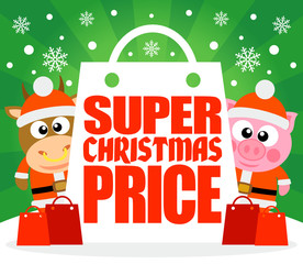 Super Christmas Price card with bull and pig ,vector