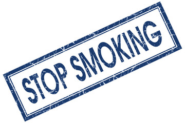 stop smoking blue square stamp isolated on white background