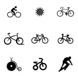 Vector bicycle icons set poster