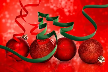 Composite image of ribbon in shape of christmas tree