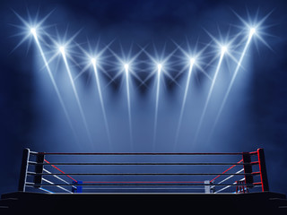 Boxing ring and floodlights , Boxing event arena