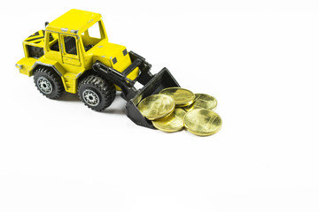 Front loader toy with money