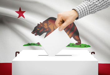 Ballot box with national flag on background - California