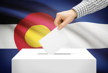 Ballot box with national flag on background - Colorado