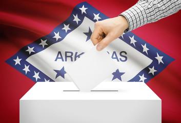 Ballot box with national flag on background - Arkansas