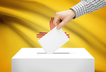 Ballot box with national flag on background - New Mexico