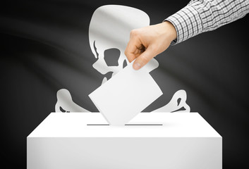 Ballot box with national flag on background - Jolly Roger flag